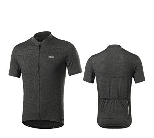 ARSUXEO - Camiseta de manga corta con cremallera para correr al aire libre, color negro