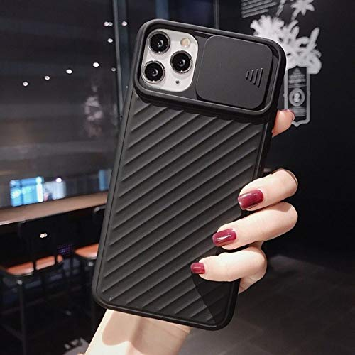WQDWF Push Pull Soft Protection Silicone Phone Case For iPhone 11 12 Mini Pro MAX X XS XR MAX 7 8 Plus Shockproof Luxury Case Cover,Black,For iPhone 12Pro MAX