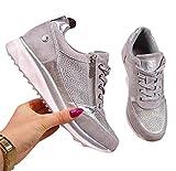 WODETIAN Sandalias de Vestir Zapatillas Deportivas de Mujer Cremallera Cordones Zapatillas de Running Fitness Sneakers Casual Zapatos para Caminar Transpirable CóModo Zapatos,Plata,41