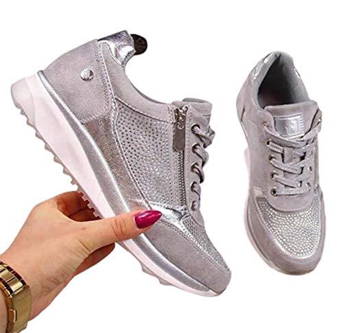 WODETIAN Sandalias de Vestir Zapatillas Deportivas de Mujer Moda Cremallera Cordones Zapatillas de Running Fitness Sneakers Casual Zapatos para Caminar,Plata,41