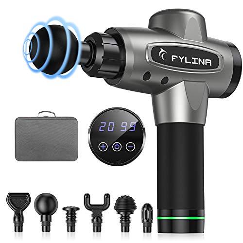 Massagepistole FYLINA Massage Gun für tiefes Gewebe Ultra Leises LED Muskelmassagepistole elektrisch 20 Geschwindigkeitsstufen mit 6 Massageköpfe 12mm Elongation & 3200rpm