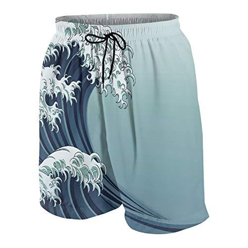 MAYBELOST Pantalones Cortos de Playa para Hombre,Ola Motivo Japonés Dibujo De Estilo Vintage Asi,Trajes de baño de Secado rápido Trajes de baño con Forro de Malla y Bolsillos