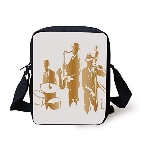 FAFANIQ Jazz Music Decor,Vintage Style Illustration of Jazz Band Playing the Blues Music Home Vibes Art,Light Brown White Print Kids Crossbody Messenger Bag Purse