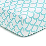 American Baby Company 100% Natural Cotton Percale Fitted Crib Sheet for Standard Crib and Toddler Mattresses, Aqua Sea Waves, Soft Breathable, for Boys and Girls