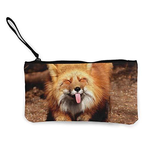 Wrution Fox - Monedero de lengüeta con Cremallera, tamaño pequeño, portátil, Gran Capacidad, Personalizable
