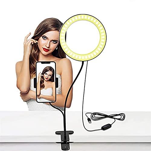 Anillo de Luz con Soporte de Brazo Flexible 6''Ring Light con 3 Modos de iluminación 10 Niveles de brillo Regulables Aro de Luz para Selfie,Maquillaje, Youtube,Fotográfica ,Compatible con Smartphones