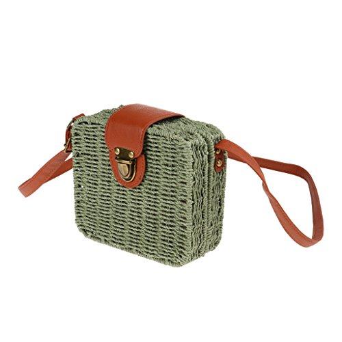 sharprepublic Frauen Weinlese Sommer Kasten Stroh Gesponnene Kurier Schulter Beutel Handtaschen Schultasche - Armeegrün, wie beschrieben