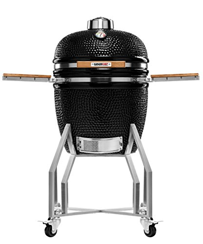 Kamado Chef 1900 Prestige Diamond Black XL 19 Inch Ceramic BBQ Charcoal Grill, Smoker and Oven for Grilling, Searing, Roasting, Smoking and Barbecue – incl. Heat Deflector, Cover etc.