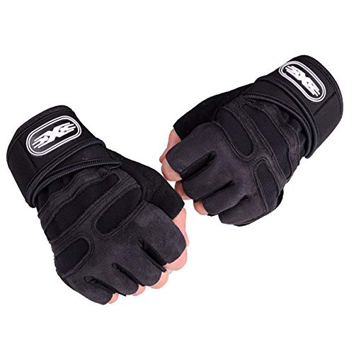Zongha Guantes Gym Guantes Fitness Mujer Guantes de Fitness para Hombres de Gimnasio Gimnasio Guantes Hombre Palm Protectores de Gimnasio Black,X-Large
