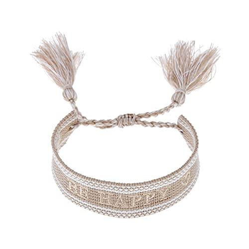 Gift4U Damen Herren Unisex Freundschaftsarmbänder Stoffarmband Armband mit Stickerei GU070521A0 (Beige_BE HAPPY)