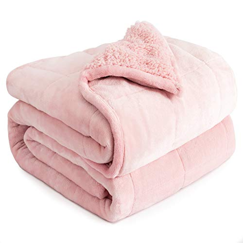 Cottonblue Weighted Blanket 20lbs 60x80 Inches, Pink Sherpa Blanket Throw Sofa Bedding Heavy Blanket for Adults, Soft Cozy Fleece Blanket On Queen...