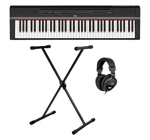 Yamaha P-121B Stage Piano Set (73 anschlagdynamische Tasten auf (GHS) Tastatur, interne Bass & Schlagzeugspuren sowie Tisch EQ
