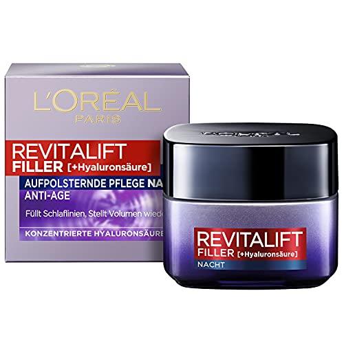 L'Oréal Paris Nachtpflege, Revitalift Filler, Anti-Aging Gesichtspflege, Anti-Falten und Volumen, Hyaluronsäure-Konzentrat, 50 ml