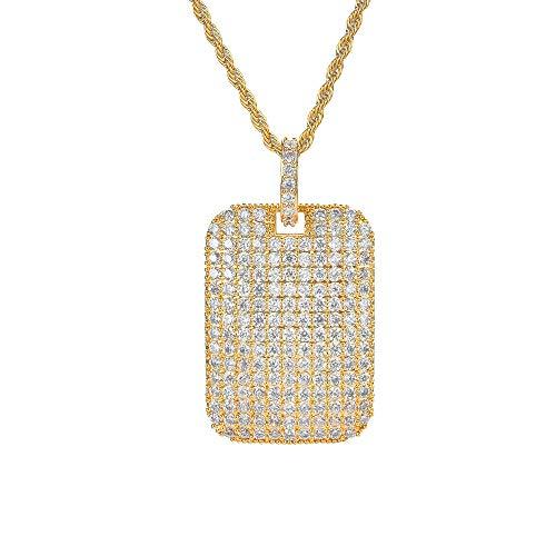 VAWAA Collar con Colgantes de Oro con Placa de identificación Militar Premium de Hip Hop