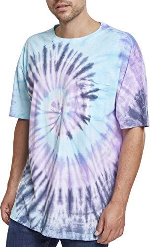 Urban Classics Herren Spiral Tie Dye Pocket Tee T-Shirt, Mehrfarbig (NVY/Blue/Purple 01450), L