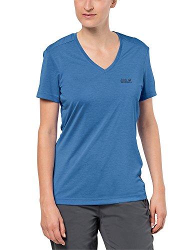 Jack Wolfskin Damen Funktionsshirt CROSSTRAIL T Women Leicht Atmungsaktiv Funktions Shirt, Wave Blue, XS, 1801692-1255001