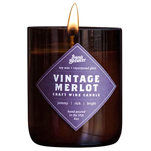 Vintage Merlot Wine Candle - Makes a Great Wine Gift, Gift for Mom, Unique Wine Bottle Candle, Pinot Noir, Bordeaux, Cabernet, Syrah, Malbec, Chardonnay, LushMADE in USA