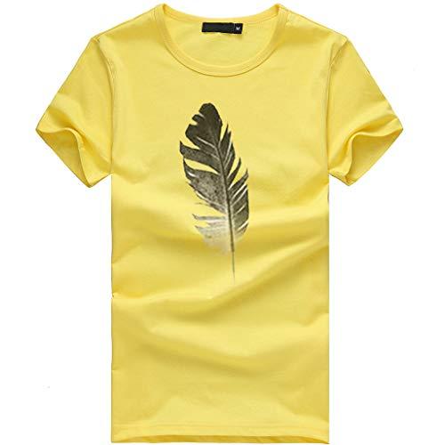 AmyGline Sommer Oberteil Damen T Shirt Top Bluse-Frauen Mädchen Blätter Druck Kurzarm T-Shirt Casual Rundhals Tank Tops Tunika Blusen Tees Sweatshirt Pullover Hemd