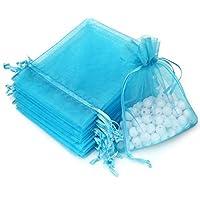 Akstore 100個4x 6インチ10x 15cm巾着オーガンザジュエリーFavorポーチウェディングパーティー祭ギフトバッグキャンディバッグ ブルー COMINHKG106055
