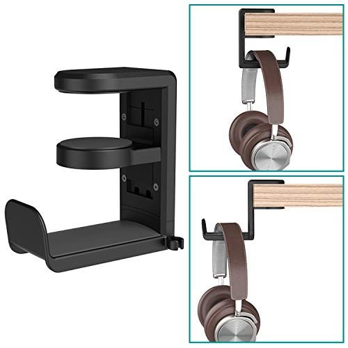 Headset Headphone Hanger Under Desk Swivel Hook, Spring Clamp (No Adhesive Required) Klearlook Universal PC Gaming Headset Earphone Display Stand Holder Table Mount Built-in Cord Clip Organizer