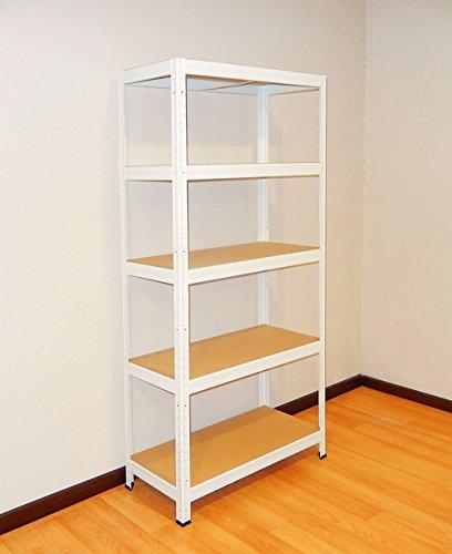 Futtal, Estanteria Metalica de 180x75x35 con 5 Bandejas Metalicas, color Blanco