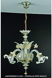 de lámpara de araña de cristal de Murano dorado 3 luces