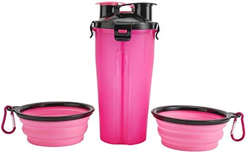 Sparkfire 2 in 1 Dog Water Food Bottle for Walking Hiking Camping Pet Food Container with 2 product image