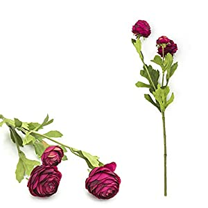 Artificial Flower 3Heads Artificial Ranunculus Bouquet DIY Silk Flower for Bridal Wedding Decor – (Color:Deep Pink)
