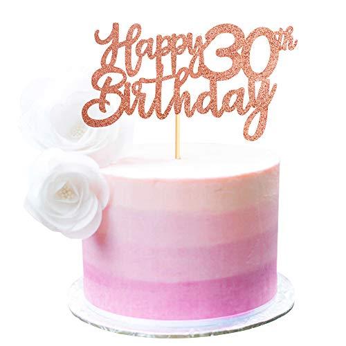 Unimall Global 3er Pack Happy 30th Birthday Cake Topper Roségold Glitter 30 Cupcake Topper Happy 30 Birthday Cake Dekoration für 30th Cheers bis 30 Birthday Party Decoration Supplies