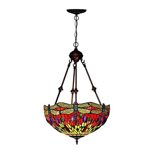 AMAFS Lámpara Colgante Estilo Tiffany Lámpara Colgante de Techo Lámpara Vintage Hecha a Mano con vidrieras Rojas para Sala de Estar con Isla (Color: B) Beautiful Home