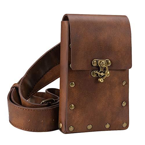 TOOGOO Medieval Renacimiento Adulto Hombre Caballero Cuero Vintage CinturóN Bolsillo Ropa Bolsa MarróN