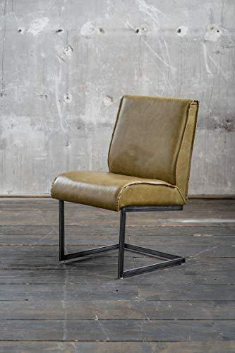 Preisvergleich Produktbild KAWOLA Stuhl Lenny Esszimmerstuhl Freischwinger Leder olivgrün Füße Eisen