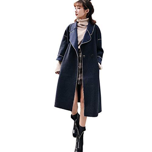 VEMOW VEMOW Damen Herbst Winter Elegante Cashmere-Like Dicker Jacke Outwear Parka Cardigan Casual Täglichen Business Schlank Mantel(X4-Blau, EU-36/CN-M)