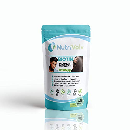 Biotin 10000µg | 60 Tablets | Maximum Strength | Beauty Pill | Healthy Hair Skin & Nails | Metabolism