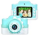 Funkprofi Kinderkamera WiFi 2 Objektive 24 MP HD 2.0' IPS-Bildschirm mit Aufklebern und Cartoon Schutzhülle Digitalkamera für Kinder als Geschenk (Blau)