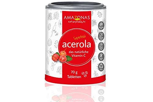 Acerola Lutschtabletten mit Vitamin C von Amazonas Naturprodukte | Ohne Farbstoffe und frei von Gentechnik | Reiches Vitamin C aus der Acerola Kirsche | Vegan | 70g