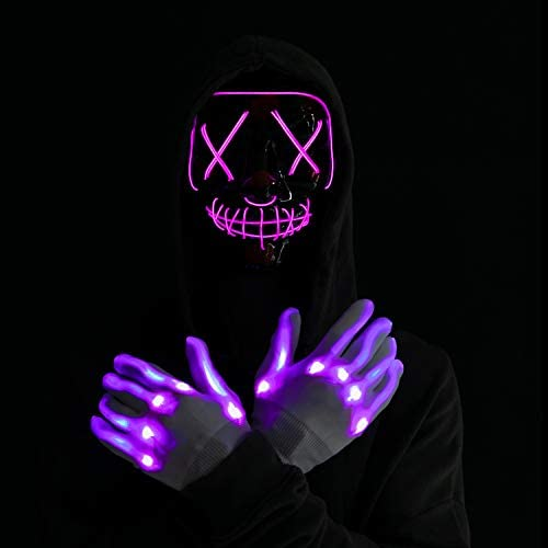 Halloween Led Mask Light Up Scary Mask and Gloves for Cosplay Costume Purple product image