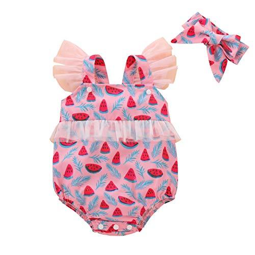 Luckycat Body Infantil para bebés recién Nacidos con Volantes Mamelucos sin Mangas Mono Trajes Ropa Bebe Peleles Patrón de Fresa Monos + Sombrero para Recien Nacido Niña Niño 0-24 Meses Ropa Verano