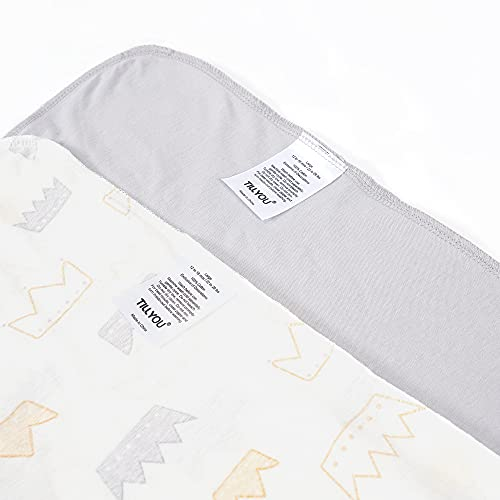 TILLYOU Large L Breathable Cotton Baby Wearable Blanket with 2-Way Zipper, Super Soft Lightweight 2-Pack Sleeveless Sleep Bag Sack Clothes for Boys, Fits Toddlers Age 12-18 Months, Gray Crown
