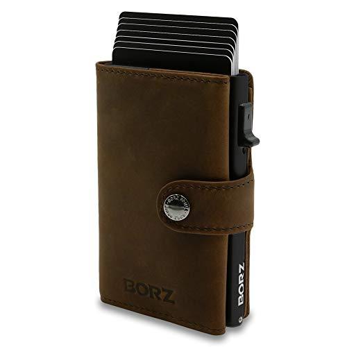 BORZ Prime MAXUS I Mini Wallet Herren (Münzfach/Kartenfach) I Kreditkartenetui I RFID Schutz I Premium Geldbörse I Geldbeutel für Karten & Scheine Echtes Leder