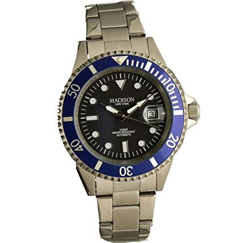 Madison, orologio automatico acciaio Band g2954b12Drehbare Lunetta Blu