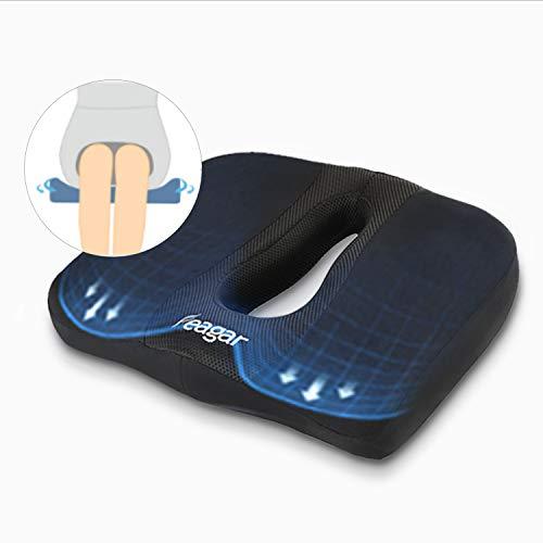 Feagar Cojin Coxis de Espuma Memoria Portátil para Hemorroides, Hernias, Cojines para espalderas y sillas Ortopedico, cojín para Coxis Alivie la Fatiga y el Dolor Por Office, Coche Negro