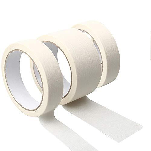 3 Rotoli Bianco di Nastro Adesivo,Nastro Carta Imbianchino per Mascheratura,Facile da strappare Tape Strong Nastro Adesivo per Artigianato, Pittura,regali e Decorazione