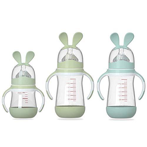 HuBorns. Biberón anticólicos - Pack biberones anticólicos para recién nacidos 2 de 240ml + 1 de 150ml - Biberones para bebés con tetina de agarre natural - Pack de 3 biberones de cristal