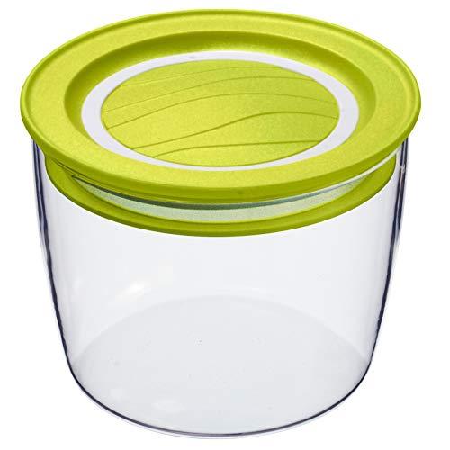 Rotho Cristallo Boîte de Rangement Ronde de 0,4 l avec Couvercle et Scellé, Plastique (PP) sans BPA, Transparent / Vert, 0,4L (11,0 x 11,0 x 7,8 cm)