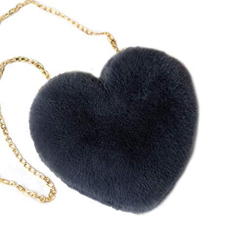 XINGYUE Mini bolsas de hombro con forma de corazón peludo, de felpa, pequeño bolso cruzado para mujeres y niñas, creativo, bolso de mensajero lindo