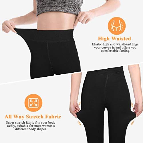 AIMTOP 2 Pack Leggins Termicos Mujer, Leggins Mujer Invierno Terciopelo Elástico Leggings Mujer Invierno, Mallas Termicas Mujer Pantalon Termico, Leggins Termicos (Negro)
