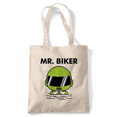Mr Motociclista Divertido Bolsa Motocicleta Scooter Street Café Corredor Rider Sidecar Reutilizable Compras Algodón Lienzo Largo Manual Natural Comprador Ecológico Moda - Verde Casco, 10 litres