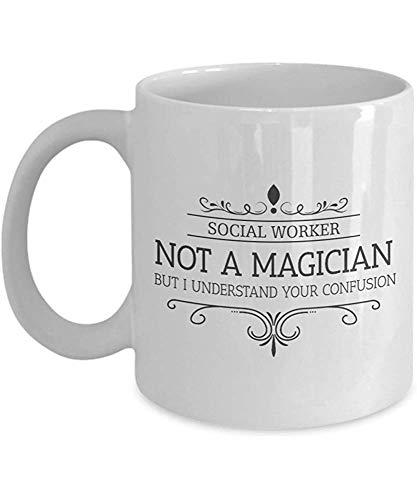 Lustige Kaffeetasse personalisierte Tassen 11 Unzen Print Mug Freund Geburtstag Familie Geschenk-Sozialarbeiter ist kein Magier
