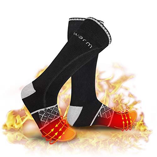DR. WARM Beheizbare Socken Herren Damen, Elektrische Wiederaufladbarem Batterie Socken, Winter-Baumwollsocken Fußwärmer für Skifahren Jagen Angeln Reiten Radfahren Camping Motorradfahren(groß)